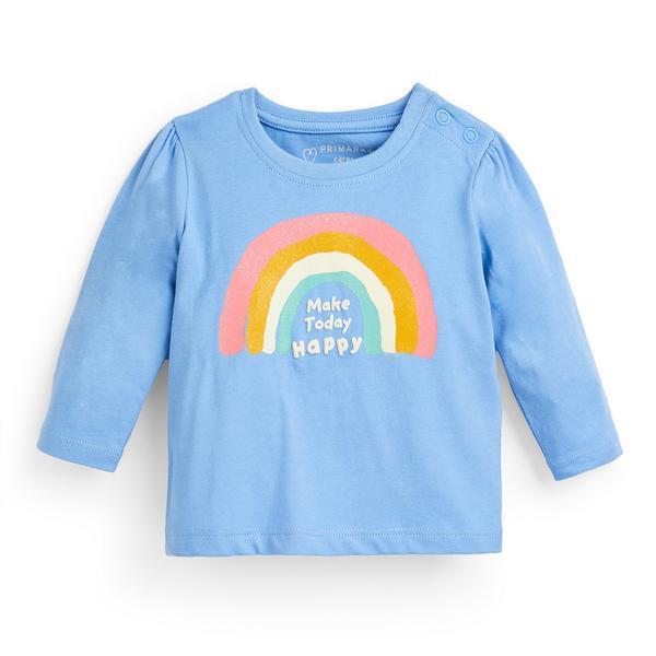 Baby Girl Blue Longsleeve Slogan T-Shirt