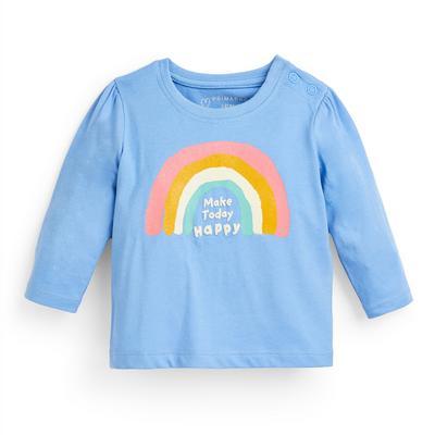 T-shirt bleu à manches longues et message bébé fille