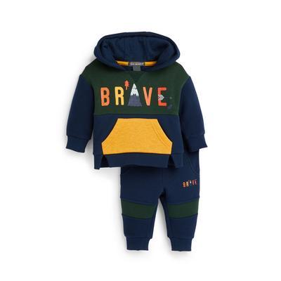 Baby Boy Navy Overhead Hoodie Leisure Set