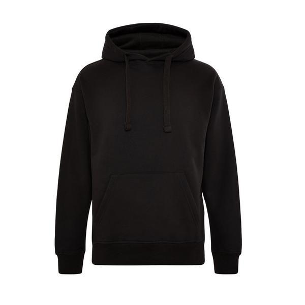 Camisola básica elevada capuz pescoço fechado preto