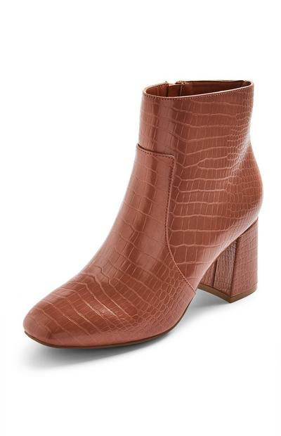 Brown Faux Leather Block Heel Boots