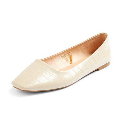 Ivory Square Toe Ballerinas