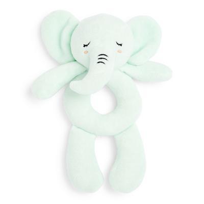 Sonajero verde de felpa de elefante