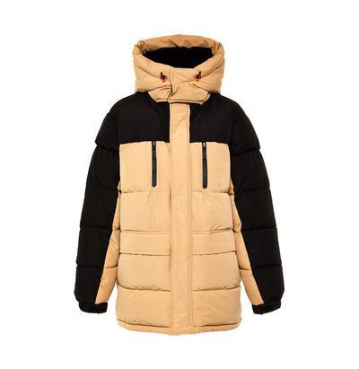 Beige Color Block Puffer Coat