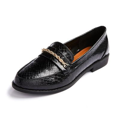 Black Chain Detail Loafers