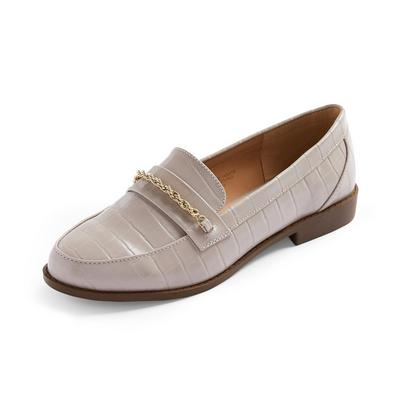 Gray Chain Detail Loafer Shoes