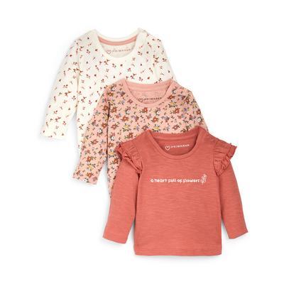 Lot de 3 t-shirts roses à imprimé fleuri et manches longues bébé fille