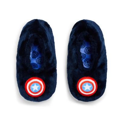Boy's Navy Captain America Slippers