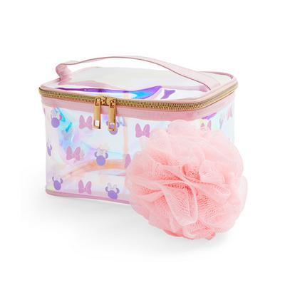 Spugna da doccia e beauty case rosa olografico Minnie Disney