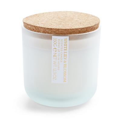 White Lily And Blossom Scented Round Cork Lid Votive Candle