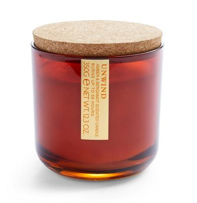 Amber And Bergamot Scented Round Cork Lid Votive Candle