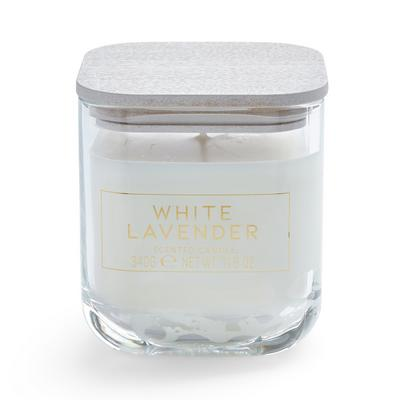 Large White Lavender Square Lid Votive Candle