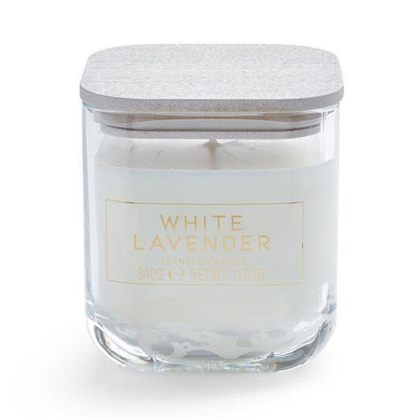 Candela votiva grande in vasetto squadrato con coperchio White Lavender