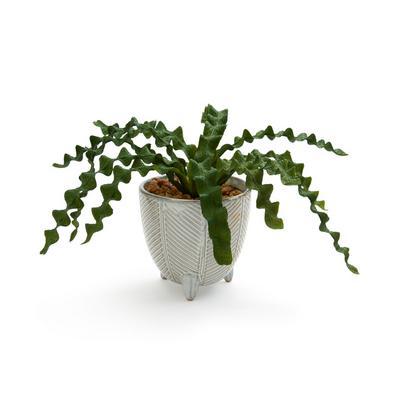 Großer Keramiktopf mit Kunstpflanze
