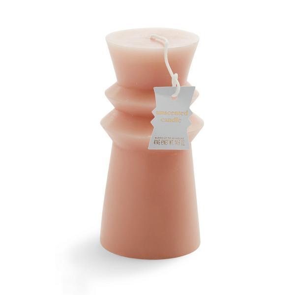 Geformte rosa Stumpenkerze