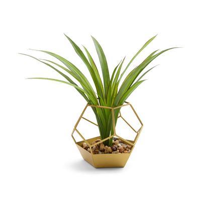 Goldtone Hex Faux Plant