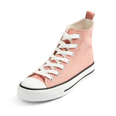 Pink Classic Canvas High Top Trainers