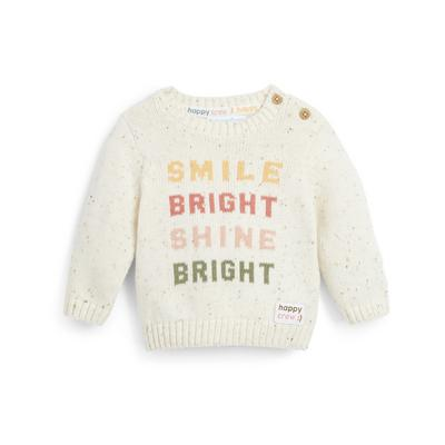 Stacey Solomon Baby Girl Ivory Knitted Crew Neck Jumper