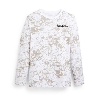 T-shirt blanc à manches longues et imprimé marbre ado