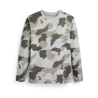 T-shirt kaki à motif peinture et manches longues ado