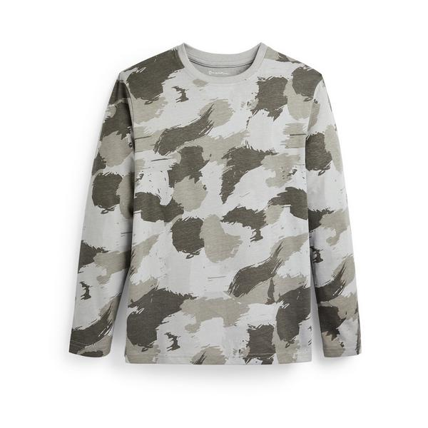 Kaki T-shirt met verfpatroon en lange mouwen voor jongens
