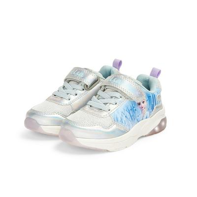 Younger Girl Silver Frozen Light Up Sneakers
