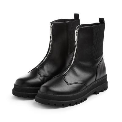 Older Girl Black Zip Front Track Boots
