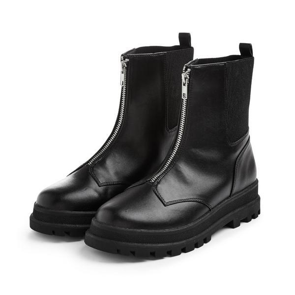 Older Girl Black Zipper Front Track Boots