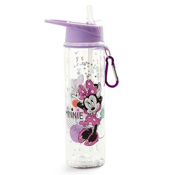 Botella de agua morada con purpurina de Minnie Mouse de Disney