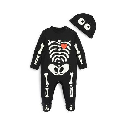 Baby Black Halloween Skeleton Onesie And Hat Set 2 Piece