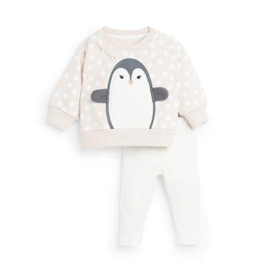 2-Piece Baby Girl Pink Penguin Leisure Set