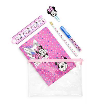 Conjunto papelaria mini Disney Minnie Mouse cor-de-rosa