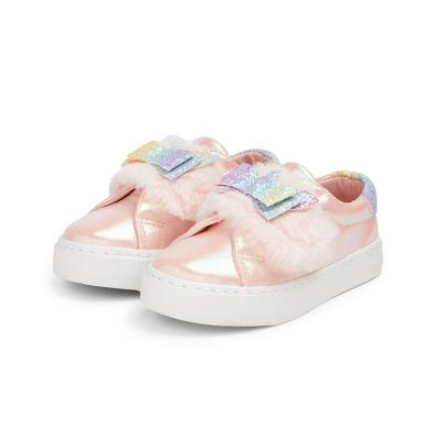 Younger Girl Pink Faux Fur Low Top Trainers