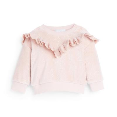 Baby Girl Pink Velour Sparkle Frill Neck Sweater