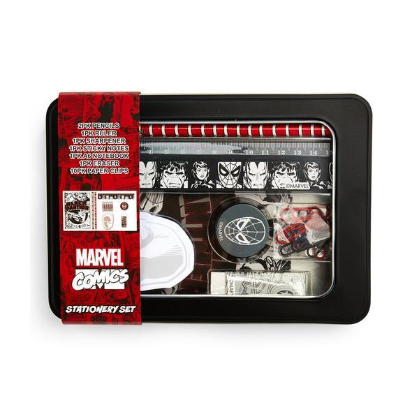 Lata con artículos de papelería de Marvel