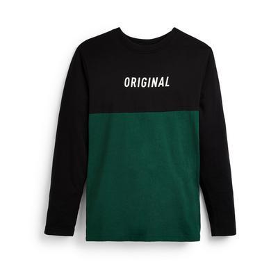 T-shirt vert color block à manches longues ado