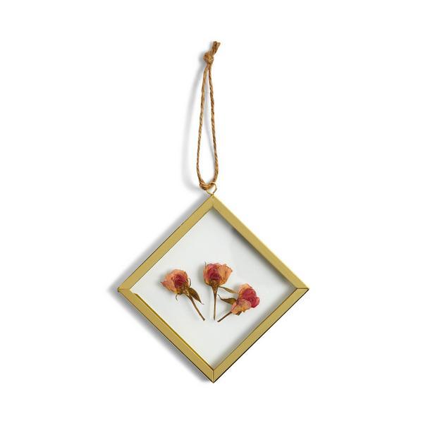 Schwebender Mini-Rahmen mit gepressten Blumen