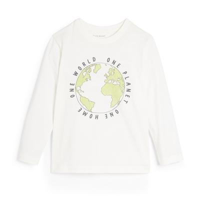 Wit T-shirt met lange mouwen en aardeprint voor jongens