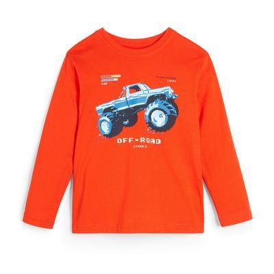Oranje T-shirt met lange mouwen en monstertruckprint voor jongens