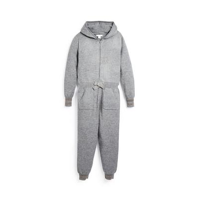 Older Girl Grey Knitted Hooded Onesie