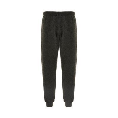 Charcoal Grey Knit Cuff Leg Tie Waist Joggers