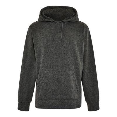 Donkergrijze gebreide hoodie