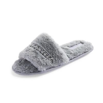 Gray Fluffy Chain Detail Slide Slippers