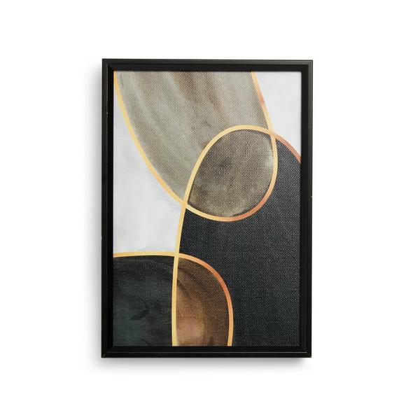 Décoration murale abstraite en toile à bords en bois