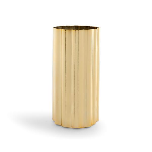 Goldfarbene, geriffelte Metallvase