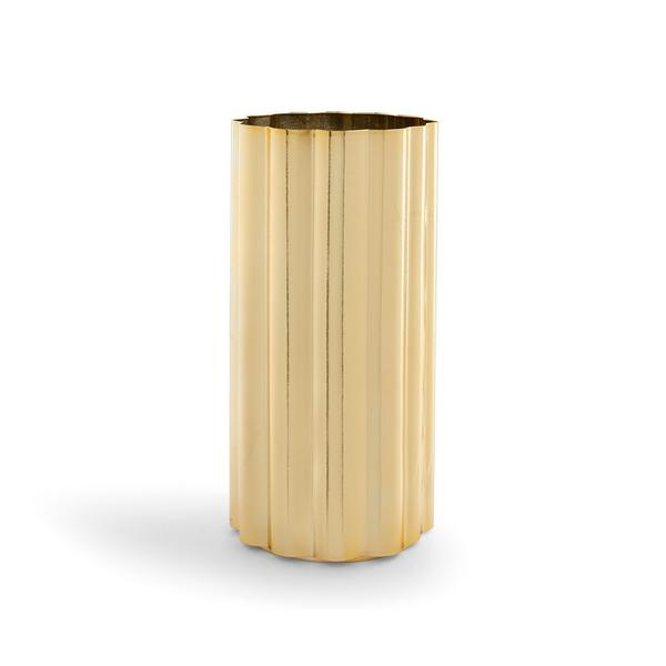 Vase doré en métal cannelé
