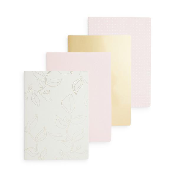 A4-Notizbücher mit Goldfolie, 4er-Pack