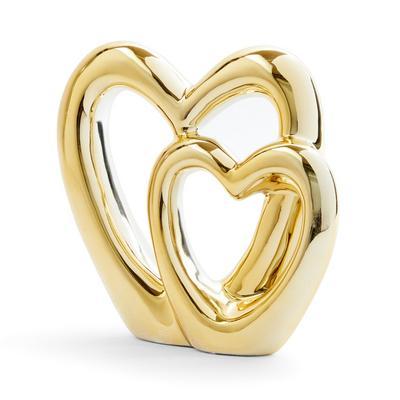 Ornamento coração cerâmica dourado