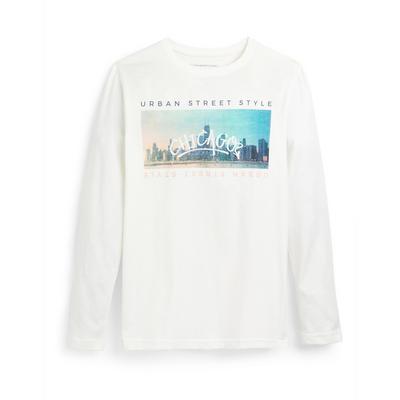 T-shirt blanc à imprimé paysage et manches longues ado