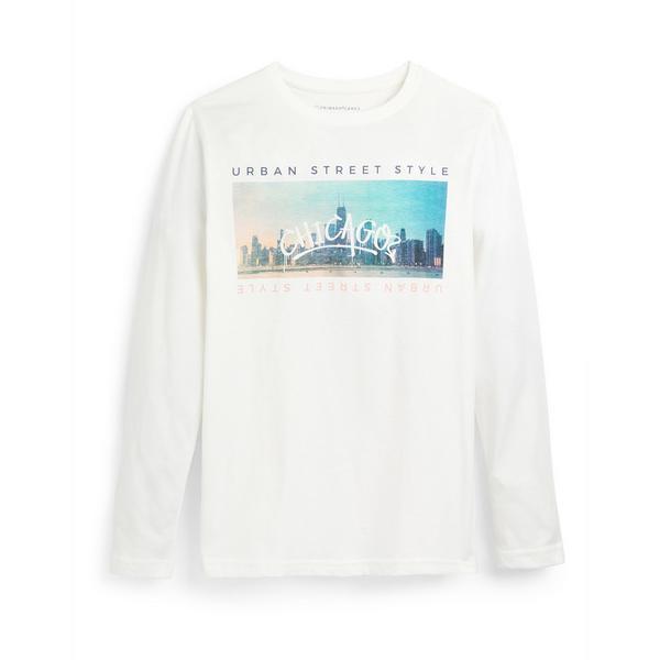 Wit T-shirt met lange mouwen en landschapsprint voor jongens